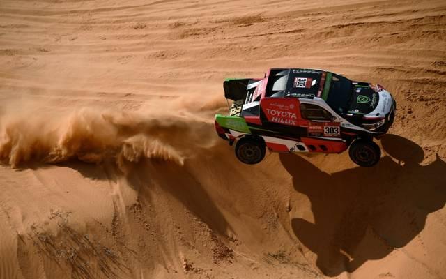 Dirk von Zitzewitz feiert einen Etappensieg bei der Rallye Dakar
