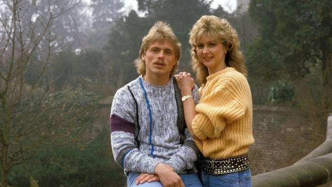 Uli Borowka (Gladbach) mit seiner Freundin Carmen Weidner