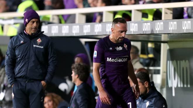 FLORENCE, ITALY - OCTOBER 27: Franck Ribery of ACF Fiorentina reacts during the Serie A match between ACF Fiorentina and SS Lazio at Stadio Artemio Franchi on October 27, 2019 in Florence, Italy.  (Photo by Gabriele Maltinti/Getty Images)