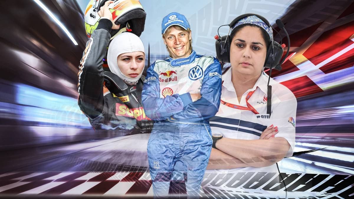 Sophia Flörsch (v.l.), Jutta Kleinschmidt und Monisha Kaltenborn hinterlassen im Motorsport ihre Spuren