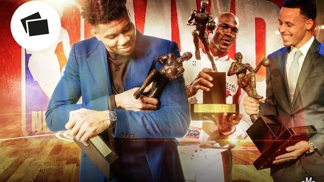 Giannis Antetokounmpo beerbt als MVP der NBA unter anderem Michael Jordan (M.) und Steph Curry (r.)