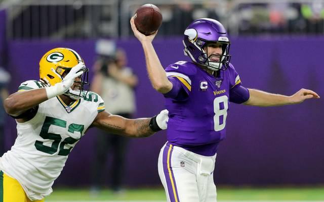 Quarterback Kirk Cousins (r.) von den Minnesota Vikings hat vor dem Coronavirus keinerlei Angst