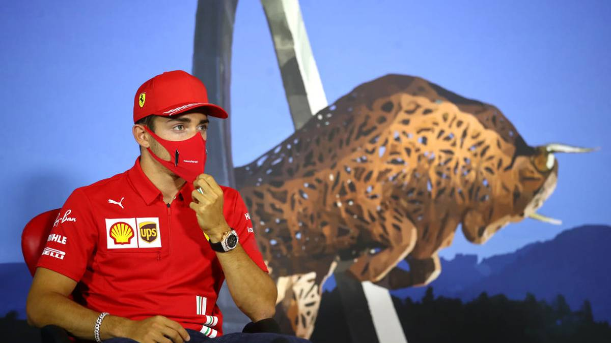 Ferrari's Monegasque driver Charles Leclerc addresses the drivers' press conference ahead of the Formula One Styrian Grand Prix on July 9, 2020 in Spielberg, Austria. (Photo by Bryn Lennon / POOL / AFP) (Photo by BRYN LENNON/POOL/AFP via Getty Images)