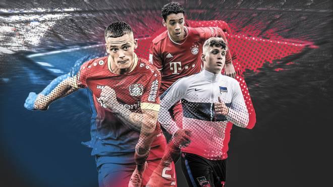 Florian Wirtz (li.), Jamal Musiala (re.) und Luca Netz zählen zu den besten Talenten ihres Jahrgangs