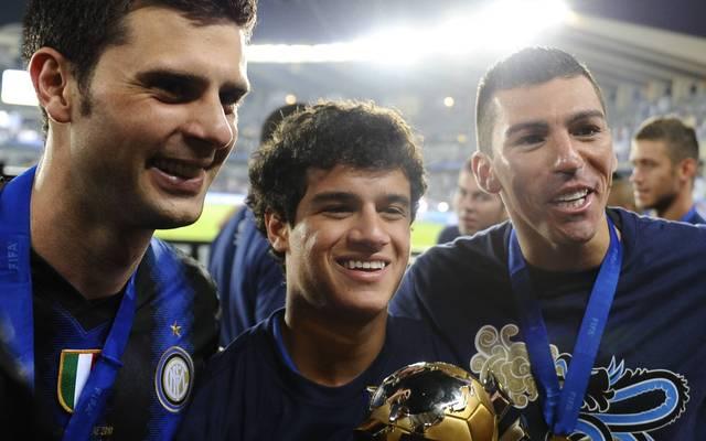 Lucio (r.) und Philippe Coutinho (M.) spielten von 2010 bis 2012 zusammen bei Inter Mailand