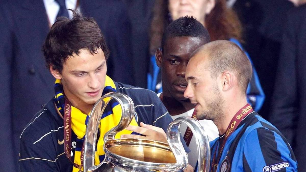 Marko Arnautovic (L) gewann 2010 das Tripel mit Inter Mailand
