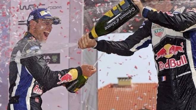 Andreas Mikkelsen (li.) jubelt über seine beste Leistung in der Rallye-WM