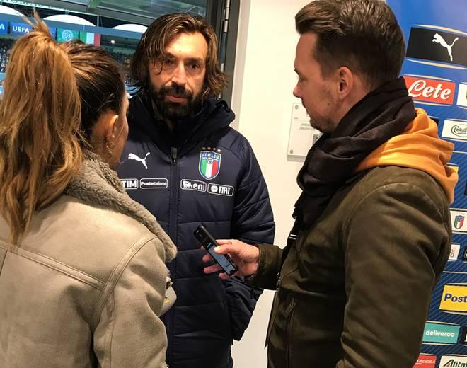 Die SPORT1-Reporter Valentina Maceri und Florian Plettenberg trafen Andrea Pirlo am Rande des Legenden-Spiels zwischen Deutschland und Italien (3:3) in Fürth