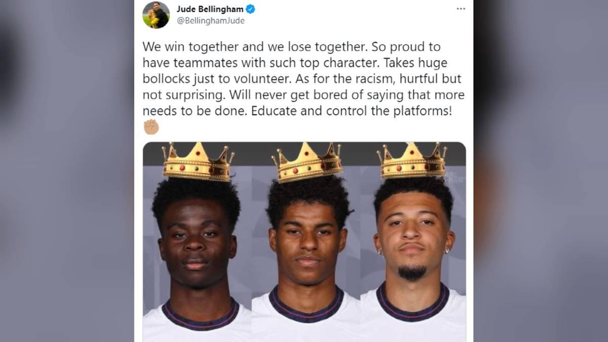 Nach den rassistischen Attacken gegen Marcus Rashford, Jadon Sancho und Bukayo Saka hat sich Teamkollege Jude Bellingham auf zu Wort gemeldet.