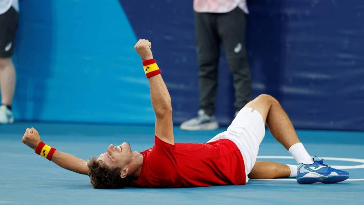 Pablo Carreno Busta jubelt über Bronze im Tennis