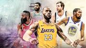 LeBron James Lakers, Durant Warriors, Nowitzki Dallas Mavericks James Harden