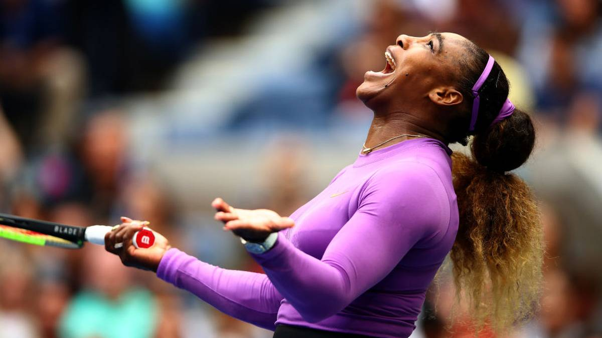 NEW YORK, NEW YORK - SEPTEMBER 07: Serena Williams of the United States reacts during her Women's Singles final match against Bianca Andreescu of Canada on day thirteen of the 2019 US Open at the USTA Billie Jean King National Tennis Center on September 07, 2019 in Queens borough of New York City.   (Photo by Clive Brunskill/Getty Images)