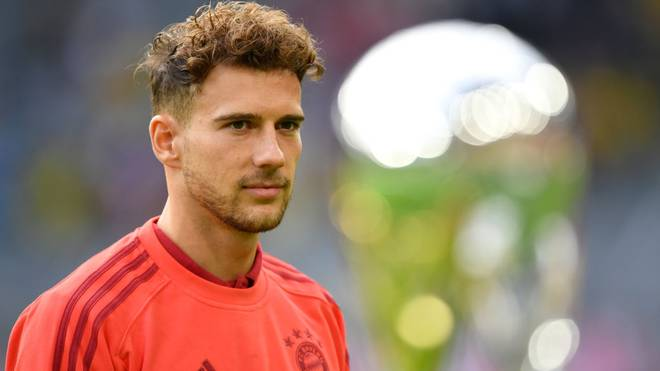 DORTMUND, GERMANY - AUGUST 03: Leon Goretzka of Bayern Muenchen looks on at the Supercup 2019 Trophy during the warm up prior to the DFL Supercup 2019 match between Borussia Dortmund and FC Bayern München at Signal Iduna Park on August 03, 2019 in Dortmund, Germany. (Photo by Stuart Franklin/Bongarts/Getty Images)