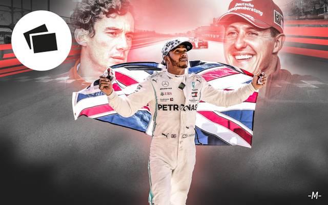 Beste Formel-1-Fahrer aller Zeiten mit Lewis Hamilton, Ayrton Senna und Michael Schumacher