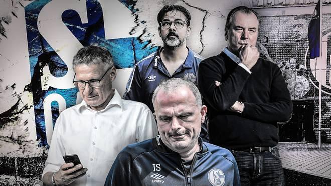 Gesichter des Schalker Absturzes: Michael Reschke, David Wagner, Clemens Tönnies, Jochen Schneider (von links im Uhrzeigersinn)