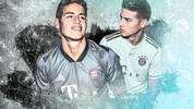 James Rodriguez im neuen Champions-League- (l.) und Auswärts-Trikot (r.) des FC Bayern
