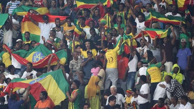 Äthiopische Fans bei der Leichtathletik-WM in Doha