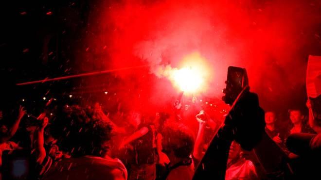 Die Anhänger von Paris Saint-Germain feierten den Finaleinzug ihrer Mannschaft