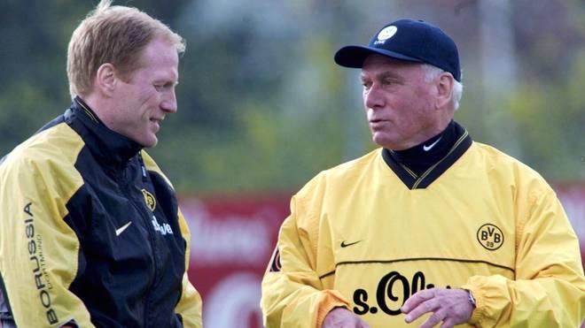 Udo Lattek (r.) trainierte den BVB interimsweise im Jahre 2000