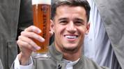 MUNICH, GERMANY - SEPTEMBER 01: Philippe Coutinho of FC Bayern Muenchen poses with a beer mug during the FC Bayern Muenchen and Paulaner photo session at FGV Schmidtle Studios on September 01, 2019 in Munich, Germany. (Photo by Alexandra Beier/Bongarts/Getty Images)