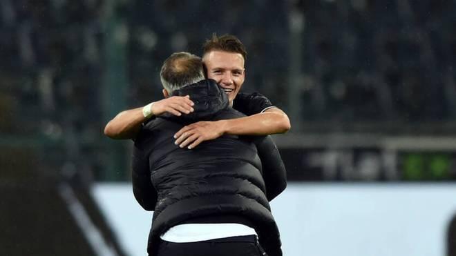 Hannes Wolf (r., mit Marco Rose) erzielte sein erstes Bundesligator