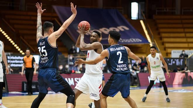 Die Basketballer des FC Bayern München ließen in den BBL-Playoffs gegen HAKRO Merlins Crailsheim) nichts mehr anbrennen