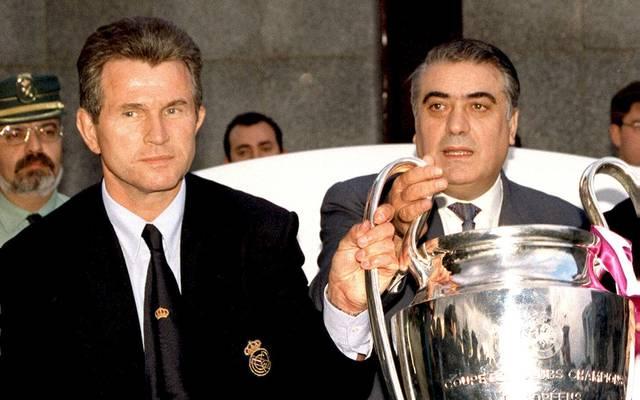 Jupp Heynckes (l.) und Lorenzo Sanz bejubelten 1997/98 mit Real Madrid den Gewinn der Champions League