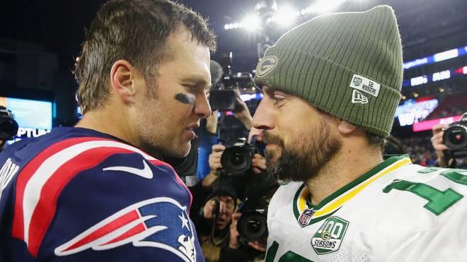 Tom Brady (l.) und Aaron Rodgers trafen zuletzt 2018 im direkten Duell aufeinander