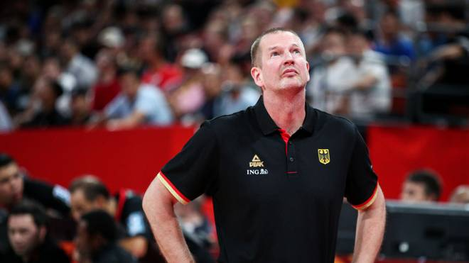 SHENZHEN, CHINA - SEPTEMBER 03: Head coach Henrik Rodl of the Germany National Team looks on during the match against the Dominican Republic National Team during the 1st round of 2019 FIBA World Cup at Shenzhen Bay Sports Center on September 03, 2019 in Shenzhen, China. (Photo by Zhong Zhi/Getty Images)