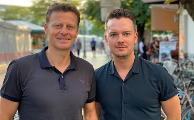 SPORT1-Chefreporter Florian Plettenberg (r.) traf Christian Wörns auf dem Münchner Viktualienmarkt