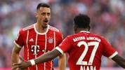 MUNICH, GERMANY - APRIL 14: Sandro Wagner of Muenchen (l) celebrates with David Alaba of Bayern Muenchen after he scored a goal to make it 2:1 during the Bundesliga match between FC Bayern Muenchen and Borussia Moenchengladbach at Allianz Arena on April 14, 2018 in Munich, Germany. (Photo by Martin Rose/Bongarts/Getty Images)