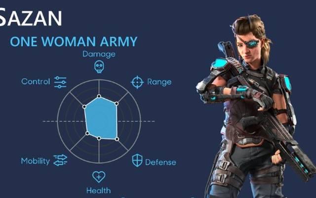 Sazan kann insgesamt aus drei verschiedenen Waffen wählen.