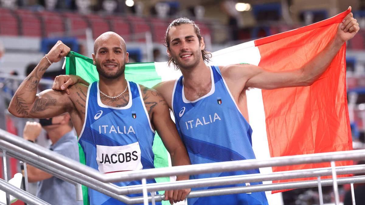 Gianmarco Tamberi (r.), und Marcell Jacobs holten kurz nacheinander Gold