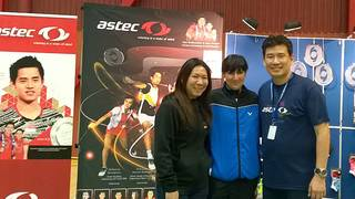 Tanja Eberl traf die indonesischen Olympiasieger Alan Budikusuma (r.) und Susi Susanti