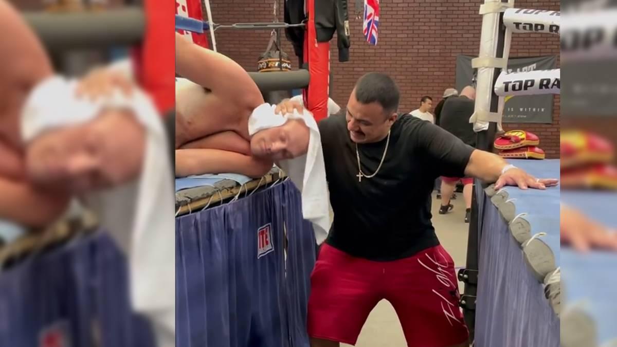 Tyson Fury macht sich derzeit in den USA fit für den Mega-Fight gegen Anthony Joshua. Dabei zeigt er eine Nackenübung nicht gerade gesund aussieht.