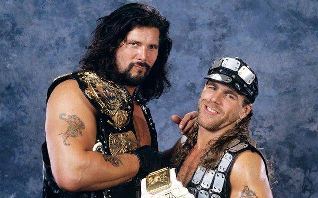 Kevin Nash (l.) war bei WWE einst Partner des bald zurückkehrenden Shawn Michaels
