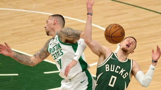 Theis (l.) verlor mit den Celtics gegen die Bucks