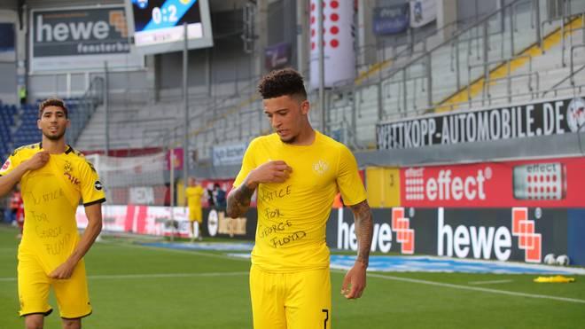 Jadon Sancho und Achraf Hakimi trugen beim BVB-Sieg in Paderborn eine klare Botschaft unter dem Trikot