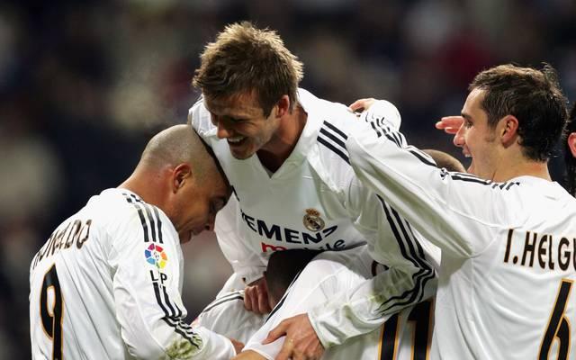 Ivan Helguera (r.) spielte gemeinsam mit Ronaldo (l.) und David Beckham für Real Madrid