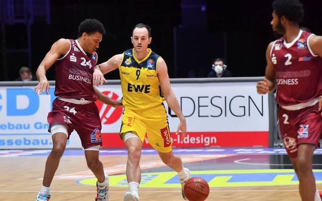 Die EWE Baskets Oldenburg hatten ihre Schwierigkeiten mit dem Aufsteiger