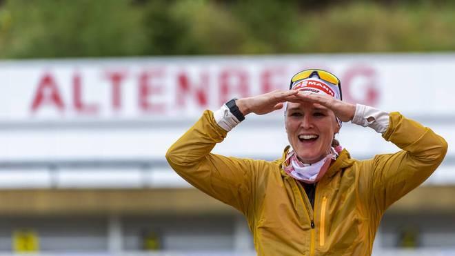 Denise Herrmann freut sich über ihren zweiten Titel bei den DM 2020
