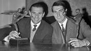 "Soviet goalkeeper Lev Yashin (L) from Dynamo Moscow and his compatriot midfielder Valery Ivanovich Voronin from FC Torpedo Moscow display on October 23, 1965 in Paris ""European Oscar"" statuettes they have been awarded for their 1964 performances. Between 1960 and 1968 Voronin earned 66 caps and scored 5 goals for the USSR national football team, and represented the country in the 1962 and 1966 World Cups. Yashin was the first choice goalkeeper for the Soviet Union from 1954 to 1967. In that spell he won 78 caps and played in three World Cups 1958, 1962 and finally 1966. AFP PHOTO (Photo by - / AFP)        (Photo credit should read -/AFP/Getty Images)"