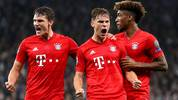 LONDON, ENGLAND - OCTOBER 01: Joshua Kimmich of FC Bayern Munich celebrates with teammates Benjamin Pavard and Kingsley Coman after scoring his team's first goal during the UEFA Champions League group B match between Tottenham Hotspur and Bayern Muenchen at Tottenham Hotspur Stadium on October 01, 2019 in London, United Kingdom. (Photo by Catherine Ivill/Getty Images)