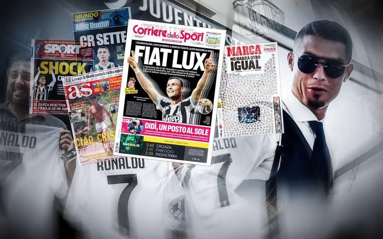 Die Transfer-Sensation ist perfekt: Weltfußballer Cristiano Ronaldo wechselt von Real Madrid für Juventus Turin, für eine Transfersumme von insgesamt 112 Millionen Euro. SPORT1 hat die Pressestimmen zum Deal des Sommers
