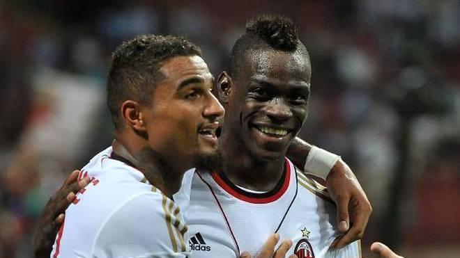 Frühere Milan-Stars wieder vereint: Mario Balotelli (r.) spielt mit Kevin-Prince Boateng in Monza