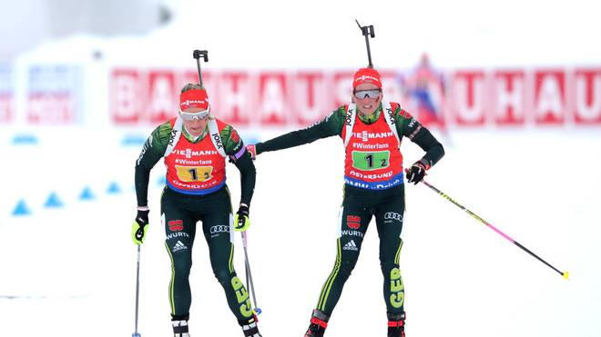 OSTERSUND, SWEDEN - MARCH 16: Franziska Hildebrand of Germany hands over to Denise Herrmann of Germany during the Women's 4x6km Relay at the IBU Biathlon World Championships on March 16, 2019 in Ostersund, Sweden. (Photo by Alexander Hassenstein/Bongarts/Getty Images)