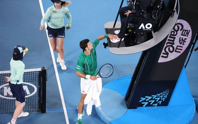 Novak Djokovic geriet im Finale der Australian Open mit dem Schiedsrichter aneinander