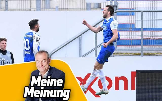 Markus Höhner (v.) hat sich für Meppens Steffen Puttkammer (r.) mitgefreut