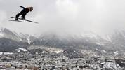 TOPSHOT - Japan's Ryoyu Kobayashi soars through the air during his trainings jump at the third stage of the Four-Hills Ski Jumping tournament (Vierschanzentournee), in Innsbruck, Austria, on January 3, 2019. - The third competition of the Four-Hills Ski jumping event takes place in Innsbruck, before the tournament ends in Bischofshofen (Austria). (Photo by Christof STACHE / AFP)        (Photo credit should read CHRISTOF STACHE/AFP via Getty Images)