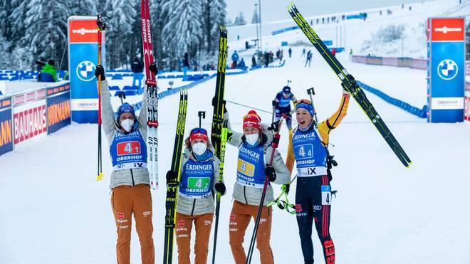 Die deutschen Damen gewannen das Staffelrennen Mitte Januar in Oberhof
